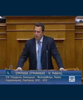 Ομιλία στη Βουλή κατά τη συζήτηση του Μεσοπρόθεσμου Προγράμματος