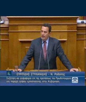 Ομιλία στη Βουλή κατά τη συζήτηση της πρότασης για παροχή ψήφου εμπιστοσύνης στην Κυβέρνηση